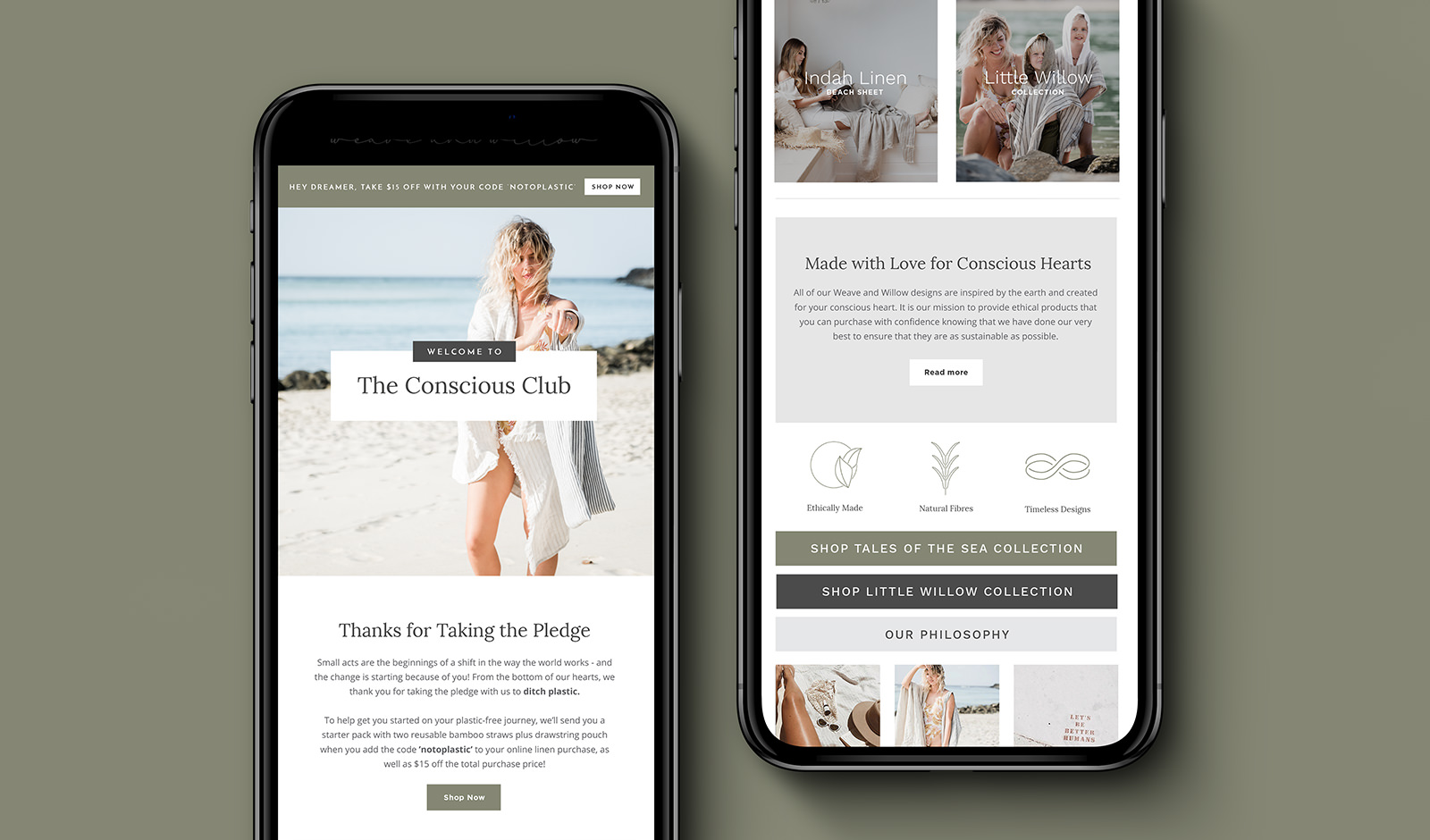 Email marketing design for linen company on two mobile phones