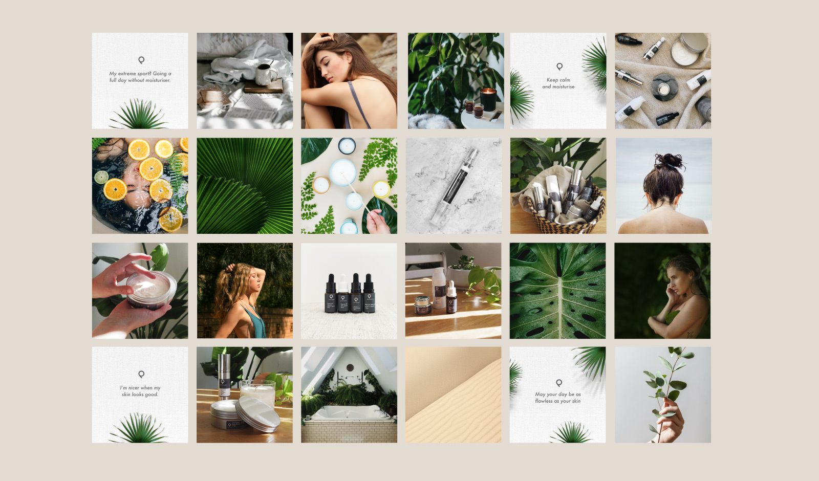 A collage of social media posts designed for Plumped Skincare