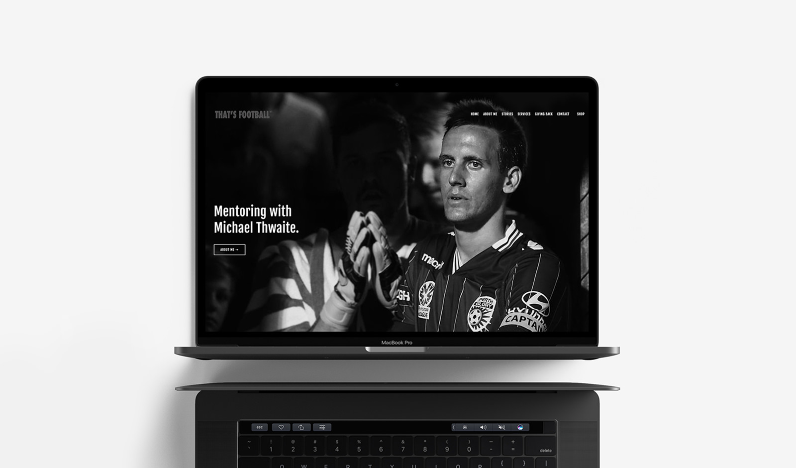 An image of a homepage website design for That's Football