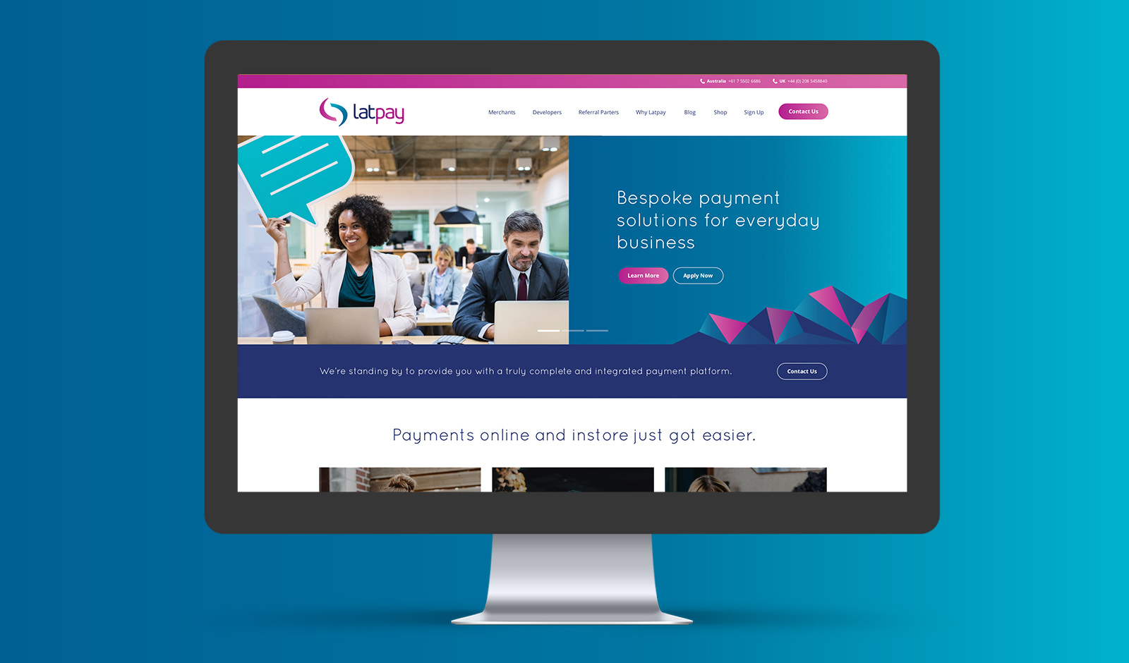 An image of a homepage website design for Latpay