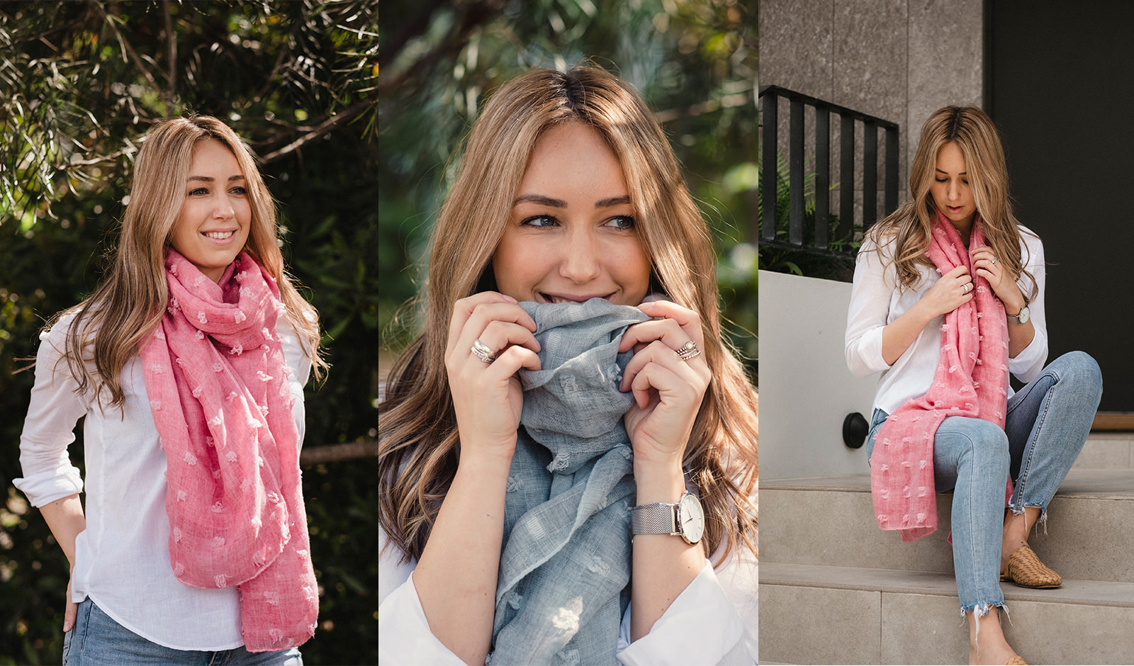 A collage of a fashion photoshoot. A woman is wearing scarves.