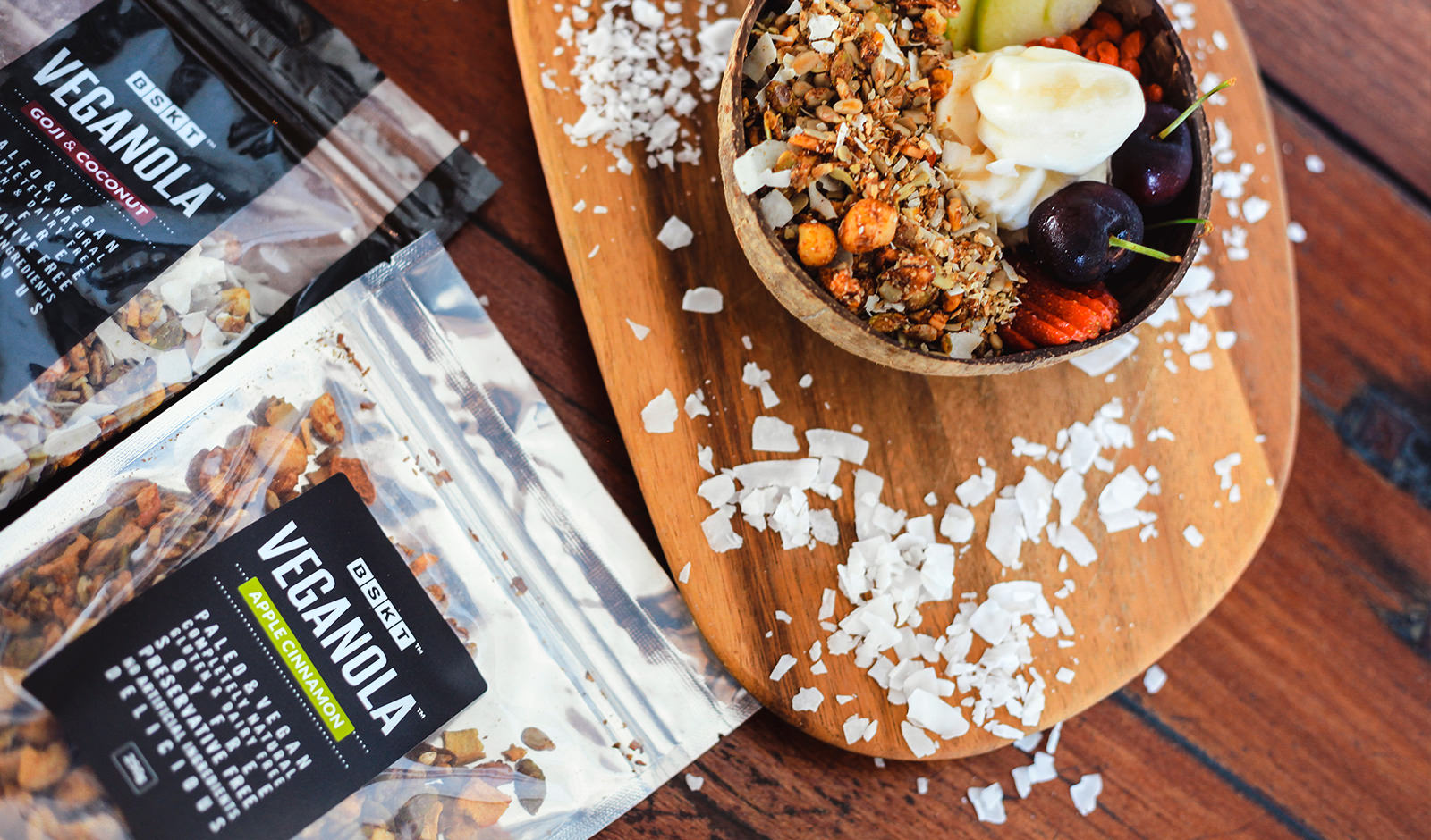A food photoshoot of granola