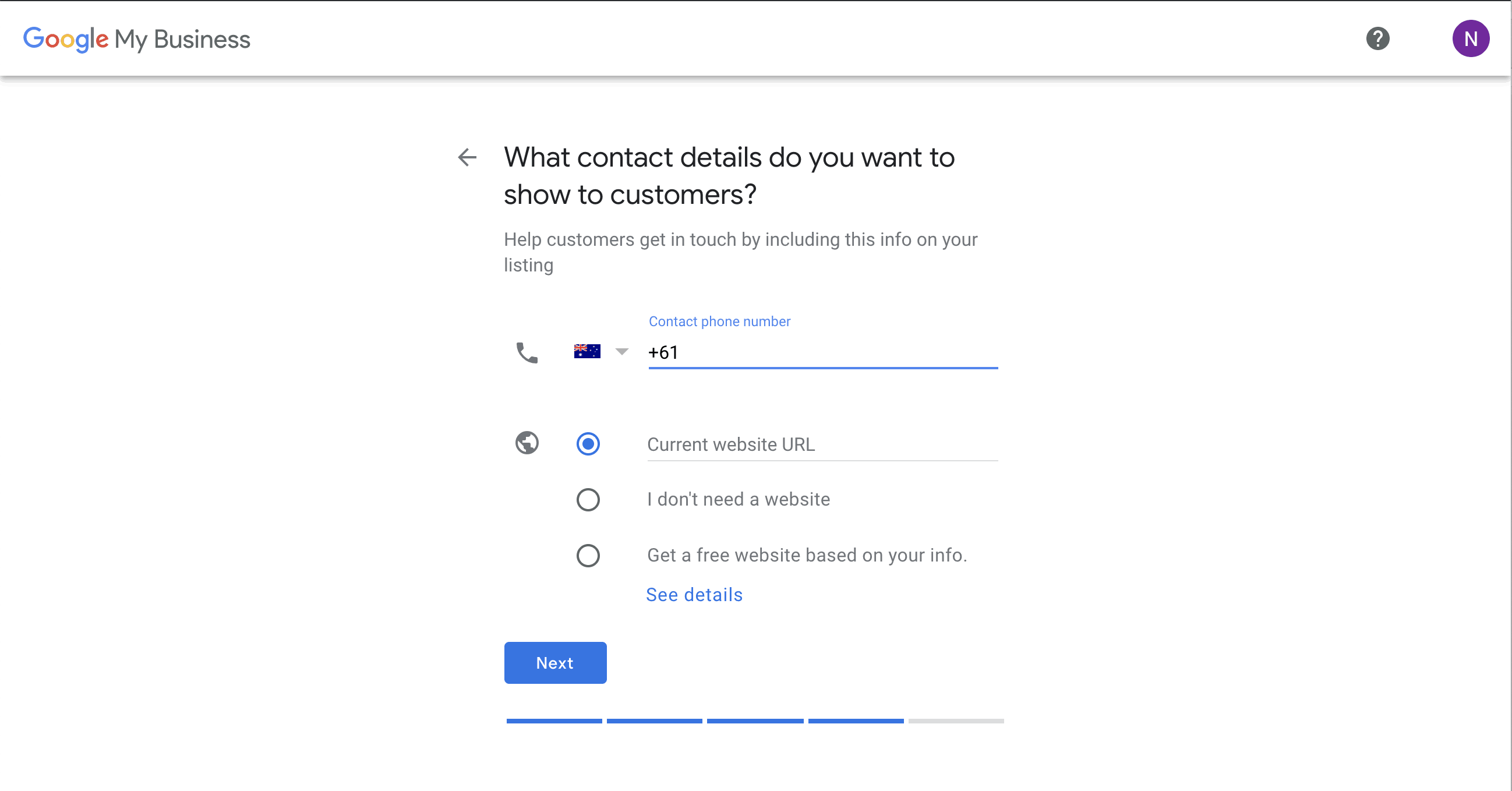 Google My Business - Contact Details