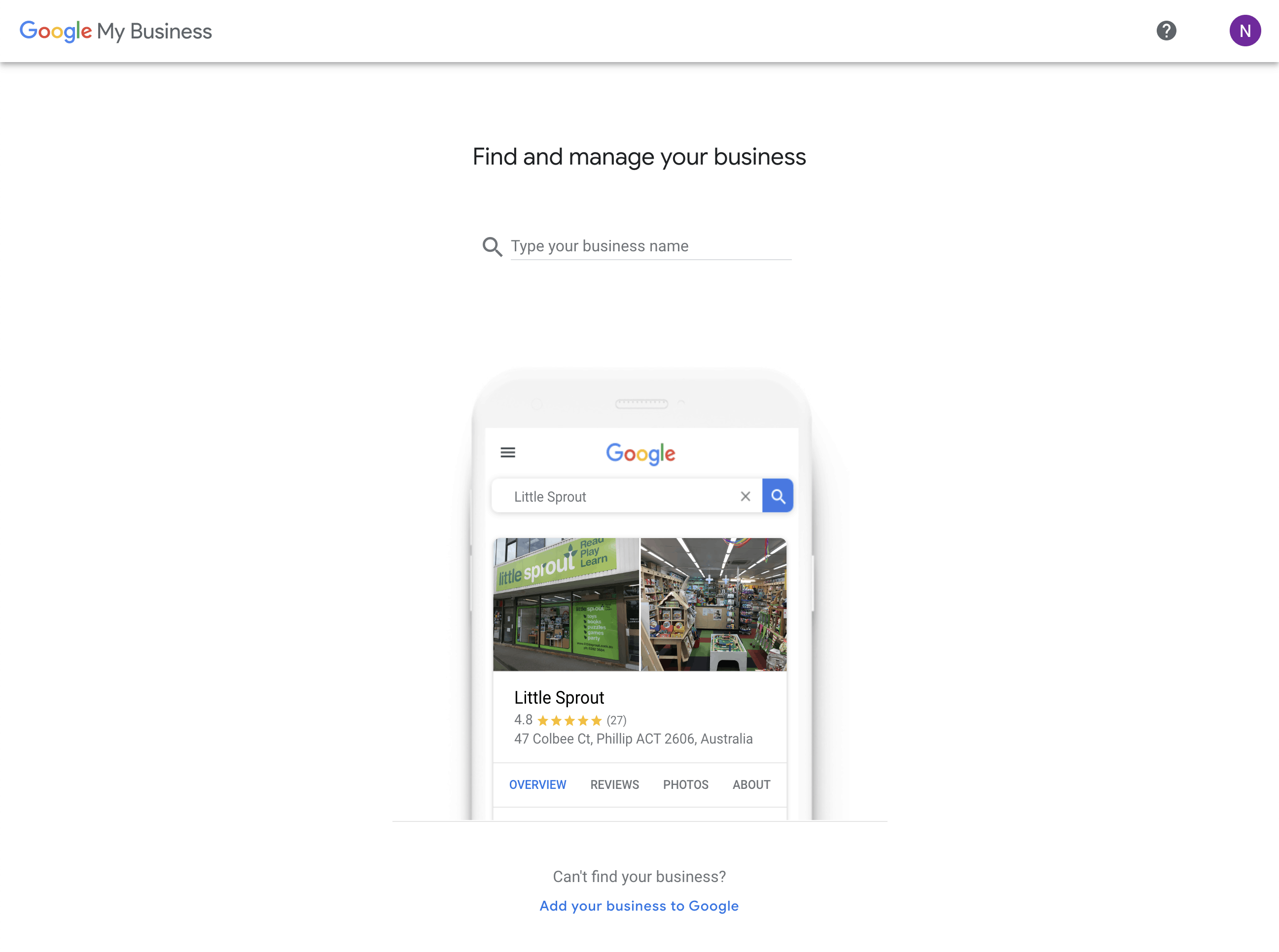 Google My Business - find and manage